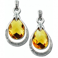 Citrine Briolette & Diamond Earrings