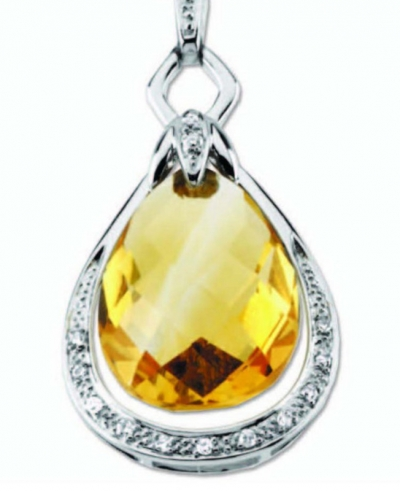 Citrine Briolette & Diamond